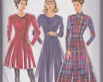 New Look 6933 Misses' Dress Pattern, UNCUT, Size 8-10-12-14-16-18, Coat, Dress Coat, Classic, Fashion, Fitted, 80's, Vintage