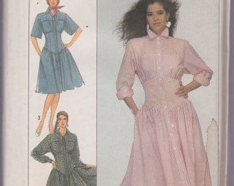 Simplicity 8488 Misses' Dress in Two Lengths Pattern, UNCUT, Size 10-12-14, Factory Folds, Vintage 1988, Retro, Boho, Fitted Midriff