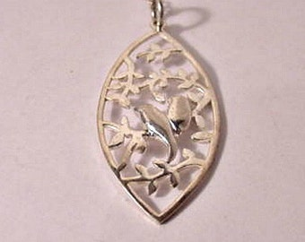 Vintage Sterling Silver Leaf-cut Lovebirds Pendant