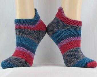 No Show Socks-Knit Wool Socks-Striped Socks-Warm Socks-Winter Socks-Knit Winter Socks-Soft Wool-Gift under 20-Handmade Socks-Hand Knit Socks