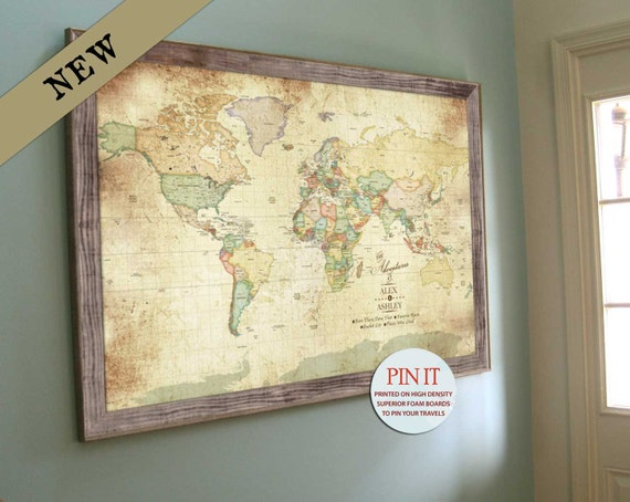 World map wall art worldmap framed push pin map push pin like this item gumiabroncs Images