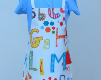 Child Pvc Apron -Large Alphabet Letters, Toddler Apron, Oilcloth Apron, Waterproof Apron