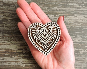 Heart Stamp: Hand Carved Indian Printing Block, Wood Block Stamp, Paisley Stamp, Lace Heart, Wooden Craft or Textile Stamp from India