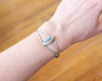 Zuni BRACELET / Floral Turquoise Cuff / Sterling Silver 1970's Jewelry