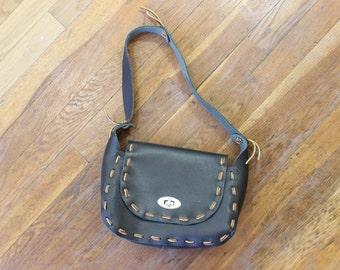 Leather Knot Bag / Vintage Black and Brown Bohemian Shoulder Bag / Southwestern Purse