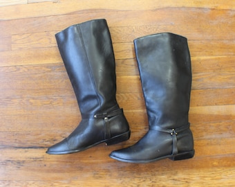 Size 9 Black Leather BOOTS / Women's Vintage Riding Boots /  Leather Footwear