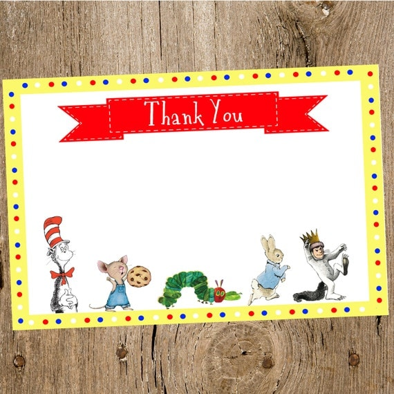 children 39 s book themed baby shower thank you card collection featured