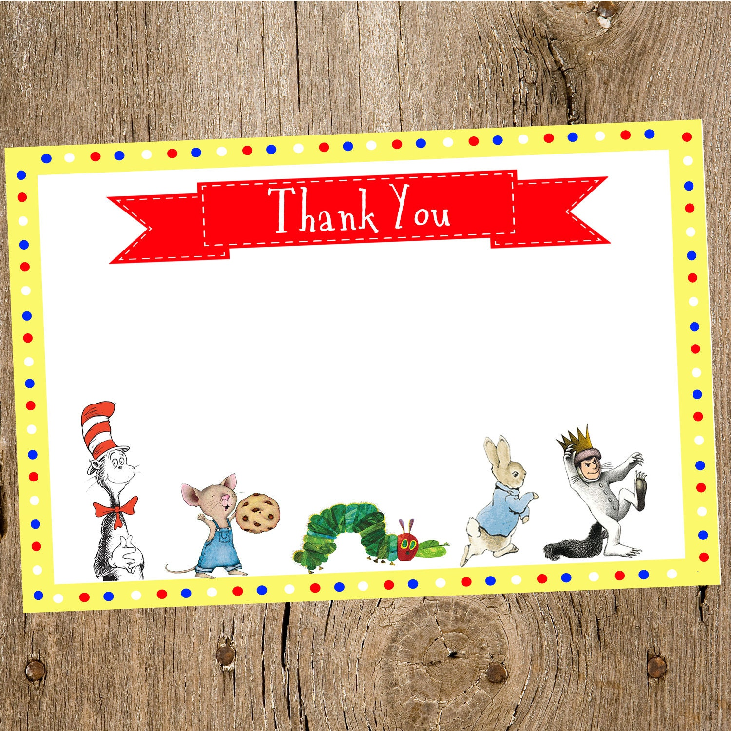 children 39 s book themed baby shower thank you card by jenleonardini