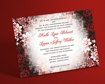 Winter Wedding Invitation Suite with Evening Frost Border- Winter Wonderland Wedding, Holiday Wedding, Christmas Wedding, Also Party Invites