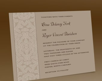 Black and White Wedding Invitations, Other Colors Available. Vintage Inspired, Lacey Filigree Design, Elegant Wedding Invitation Suite