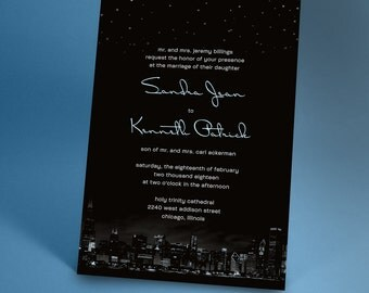 Chicago City Skyline Wedding Invitations with Night Stars, City Wedding, Urban Wedding You Choose the City and Color Accent