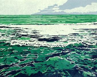 Green Sea, original linocut print