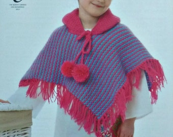 Knitting Pattern For Dk Poncho : Baby cape dk knitting pattern Etsy UK