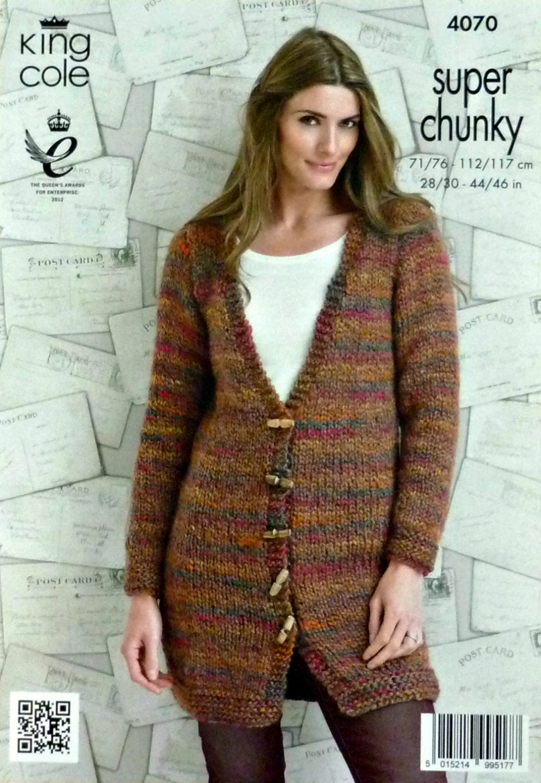 Womens Knitting Pattern K4070 Ladies Long Sleeve Deep V-Neck Long Cardigan Kn...