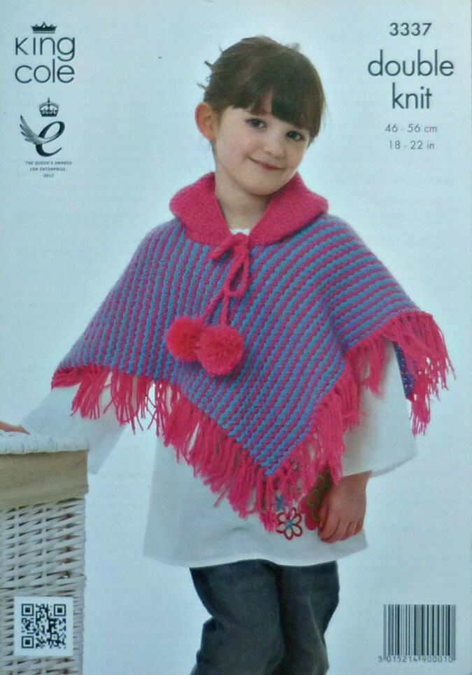 Knitting Pattern For Dk Poncho : Girls Knitting Pattern K3337 Childrens/Babies Textured ...