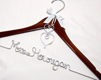 Personalized Hanger, Two Hearts, Wedding Hanger, Name Hanger, Wedding or Shower Gift, Heart Charm