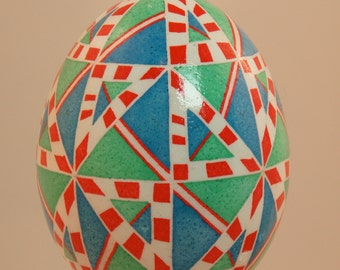 Red white green and blue triangles and stripes pysanka hanging ornament: pysanky for Easter or Christmas, Easter, and everyday