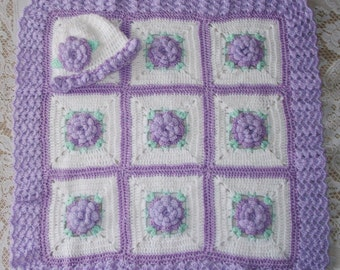 Crochet Baby Girl Blanket  3D Rose Lavender Flower Afghan & Matching Hat Perfect For BabyShower or Newborn ComingHome Gift
