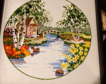 LARGE crewel embroidery springtime daffodils by a stream framed picture round