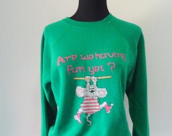 Vintage Exercise Mouse Sweatshirt 1980s