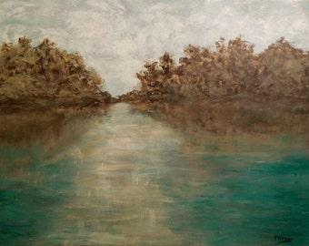original impressionist painting, abstact landscape, seascape,water, trees, HUGE, 4x3ft, modern, water, vintage charm, interpretive, dreamy,