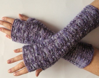 Fingerless Gloves Purple Violet Gray wrist warmers