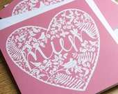 SALE Mum Papercut Style Heart Mothers Day Card. Pink Heart Design. Shabby Chic. Birds. Mothering Sunday. Mum Greetings Card.