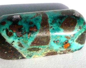 Rare chrysocolla, native copper, cuprite cabochon 85 carats Interesting and colorful