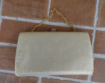 Vintage women's clutch handbag gold 1950-60's retro mod prom formal bridal wedding evening
