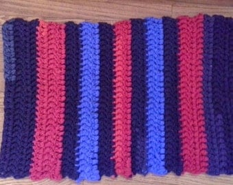 Crochet Rag Rug, Eco Friendly Small Throw Rug, Upcycled T Shirts, Red, Blue and Navy Blue, Decorative Toss, Scatter Rug