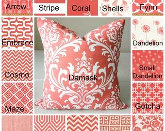 "Coral Pillow Cover Case fits 14"" 16"" 18"" 20"" 22""  24"" Euro Sham Coral Pillows Beach Decor Nautical Damask Suzani Chevron Dandelion"