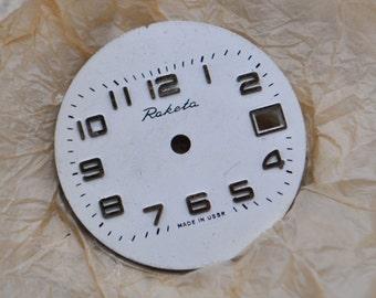 NOS Vintage Soviet Russian RAKETA wrist watch face,dial.