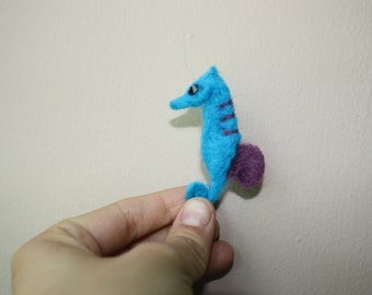 small seahorse needle felted sculpture blue