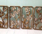 Set of Four- Floral Gold Toned wall Hangings
