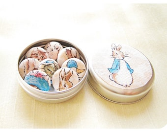 Peter Rabbit Magnets Beatrix Potter Tiny Fabric Button Fridge Magnets Gift Set in Matching Tin.