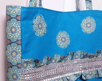 Large Handbag, Shoulder Bag, Tote Bag, silver studded accent , zipper pocket, magnetic closure, blue yellow flowers