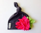 Jersey knit baby flower hat- gray with hot pink flower- newborn-baby-toddler-super soft baby knot hat
