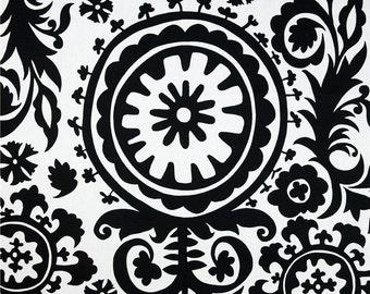 """One 50""""W x 18""""L  Custom Valance - Large Suzani -  Black/White"""