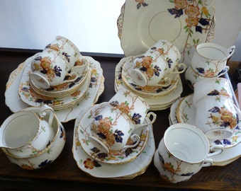 VINTAGE China TEA SET Pheonix Forester & Sons English Fine Bone China 39 pieces