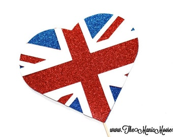 Photo Booth Props ~ GLITTERY British Flag Heart  - GLITTER Photobooth Prop