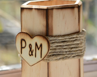 Rustic Guest Book Pen Holder with bride and groom initials engraved in a wood heart