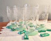 Crystal Etched Tumblers Wreath Pattern Jadite / Jade glass