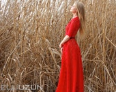 Maxi Red Lace Gown with skin color lining