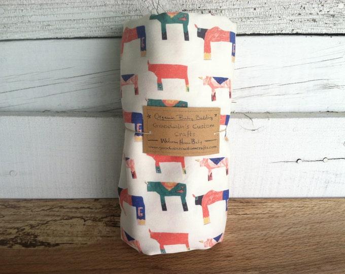 Organic Baby Bedding, Crib Sheet, Changing Pad Cover - Rhino Stampede