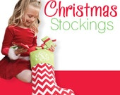Christmas stocking, Monogrammed red chevron Christmas stocking, SALE order early