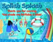 Matching Swimming Pool Thank you Card, Pool Party Thank you, Birthday Card