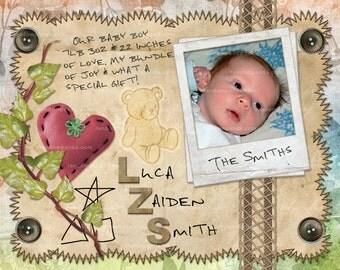 Personalized Scrapbook Baby Birth Announcement, Newborn Announcement