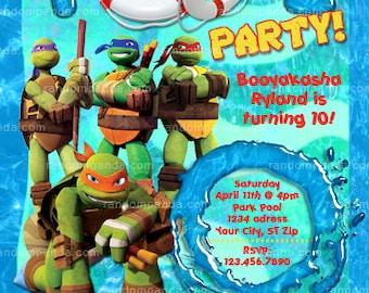 Teenage Mutant Ninja Turtles invite, TMNT Swimming Pool Party Invitation