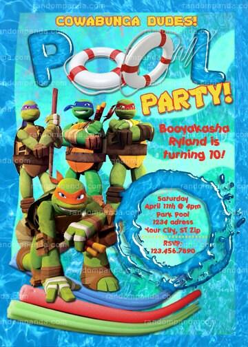 Teenage Mutant Ninja Turtles Invite Tmnt Swimming Pool Party