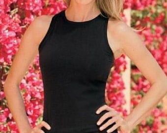 BLACK Womens Top / High Neck Tank Top w bra / Yoga Tank / 39.00 up / FREE Ship / Yoga Wear / Layer Top / Khaki Top / Yoga Tank / Workout Top